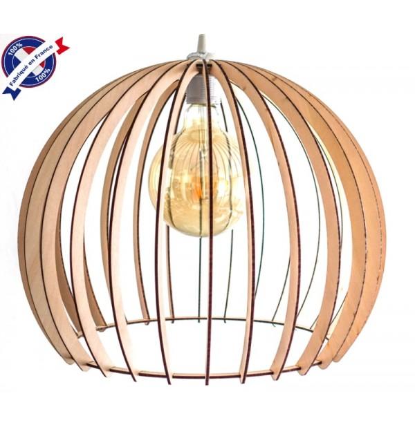 Lustre Bois Boule Eclairage Suspension Luminaire Plafond Abat Jour Bois