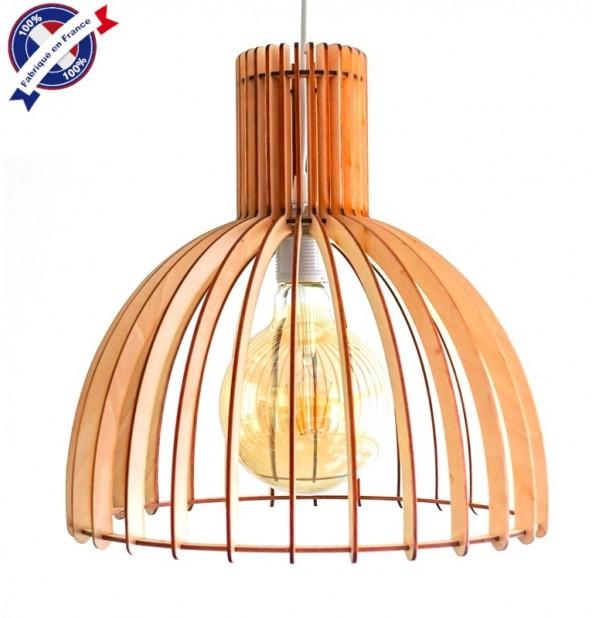 Lustre Bois Industry Eclairage Suspension Luminaire Plafond Abat